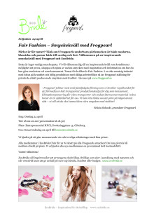 Inbjudan 24 april: Fair Fashion - Smyckekväll med Frogpearl och EcoBride