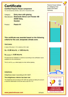 Passivhuscertifikat Ekstrands Passiv 91 tät ytterdörr