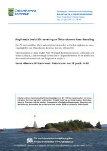 Oskarshamns kommun bjuder in till presskonferens om hamnsanering