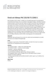 Förstå och tillämpa PAS 220 och ISO/TS 22002-1