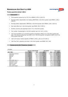 Norwegian Q3 11 Report