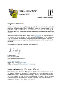 imagineear newsletter - 2010 Review