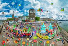 Spielerische Kunst für Kinderrechte / SOS-Kinderdörfer weltweit enthüllen Deutschlands größtes Wimmelbild auf dem NRW-Fest