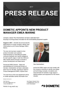 Dometic Appoints New Product Manager EMEA Marine