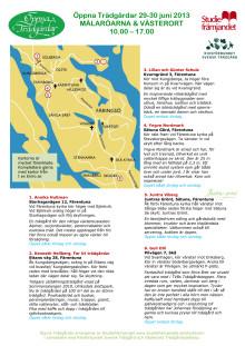 Karta till Öppna Tr'ädgårdar Mälaröarna och Västerort  29-30 juni 2013
