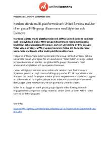 Nordens största multi-plattformnätverk United Screens ansluter till en global MPN-grupp tillsammans med StyleHaul och Divimove