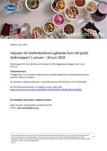 Inbjudan till telefonkonferens gällande Duni AB (publ) delårsrapport 1 januari – 30 juni 2019