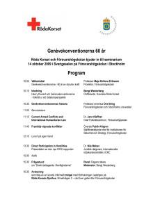 Programmet för seminiaret - Genèvekonventionerna 60 år