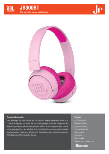 Spec Sheet JBL Jr 300BT