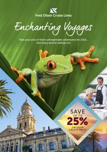 Enjoy up to 25% off four 'Enchanting Voyages' from Fred. Olsen Cruise Lines in 2018