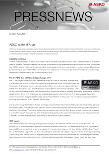 Detailed information about exhibited ASKO products at IFA 2014