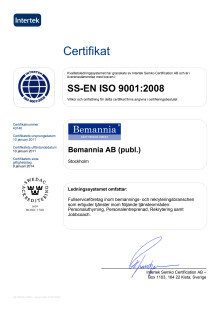 Certifikat ISO 9001:2008 Bemannia AB