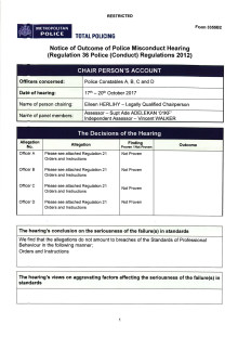 Notice of outcome of police misconduct hearing - PCs A, B, C and D - 17 to 20 October 2017