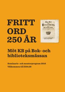 Programblad: KB på Bok- och biblioteksmässan