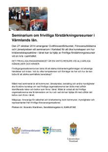 Program: Seminarium om frivilliga förstärkningsresurser i Värmlands län. (PDF)