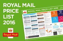 Royal Mail price list wallchart 2016