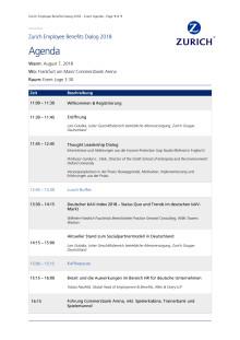 Agenda - Zurich Employee Benefits Dialog 2018