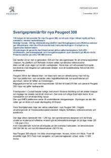 Sverigepremiär för Peugeot 308