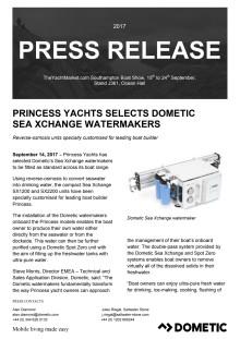 Princess Yachts Selects Dometic  Sea Xchange Watermakers