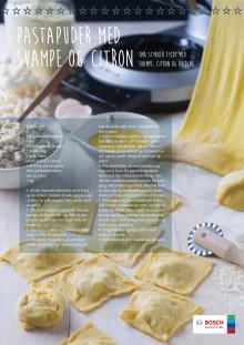 pastapuder med svampe og citron