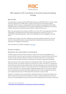 RAC response to the DfT draft walking and cycling strategy