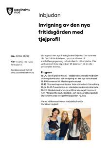Inbjudan Invigning av fritidsgård i Hjulsta