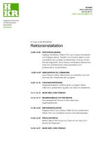 Rektorsinstallation - Tidsprogram 27 april