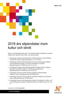 2016 års stipendiater inom kultur och idrott