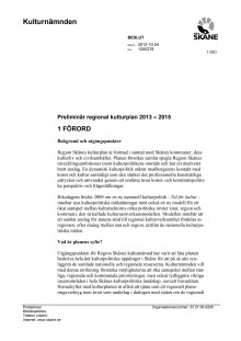 Regional kulturplan för Skåne 2013-2015