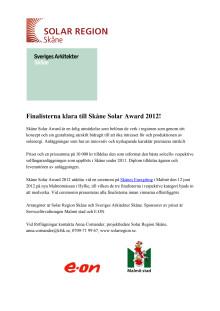 Finalister Skåne Solar Award 2012