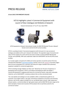 VETUS Highlights Latest V-Commercial Equipment with Launch of New Catalogue and Website at Seawork