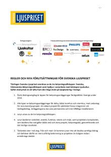 Regler för tävlingen Svenska Ljuspriset 2016