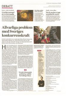 """""""Allvarliga problem med Sveriges konkurrenskraft"""""""