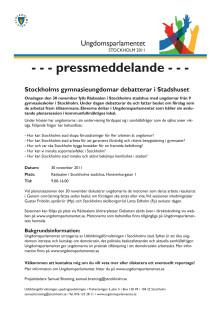 Ungdomsparlamentet - pressmeddelande och program