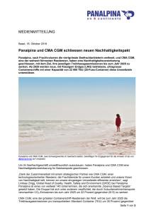 Panalpina und CMA CGM schliessen neuen Nachhaltigkeitspakt