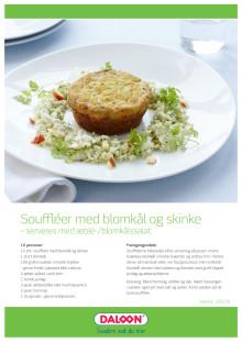 Opskrift: Soufflé med blomkål og skinke. Serveres med æble/blomkålssalat