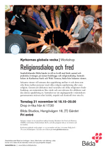 Bildas workshop kring religionsdialog och fred 21 nov i Stockholm