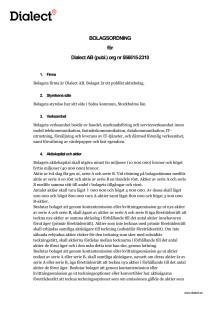 Bolagsordning Dialect AB (utan hembud) - Inför stämma hösten 2016