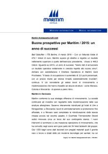 09.03.2016 - Buone prospettive per Maritim / 2015: un anno di successi