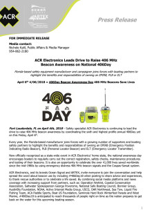 ACR Electronics Leads Drive to Raise 406 MHz  Beacon Awareness on National 406Day
