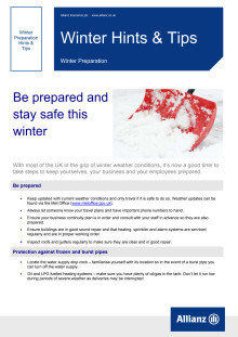 ALLIANZ ISSUES WEATHER GUIDANCE FOR BUSINESS CUSTOMERS