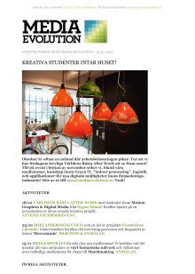 Newsletter 15.10.13 -  KREATIVA STUDENTER INTAR HUSET!