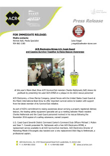 ACR Electronics Brings U.S. Coast Guard and Capsize Survivor Together to Raise Beacon Awareness
