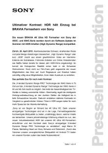 Medienmitteilung BRAVIA HDR Update von Sony