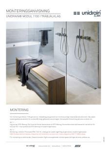 Monteringsanvisning för unidrain® Modul 1100 golvränna för träbjälklag