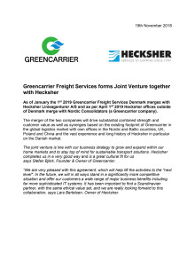 Greencarrier Freight Services forms Joint Venture together with Hecksher