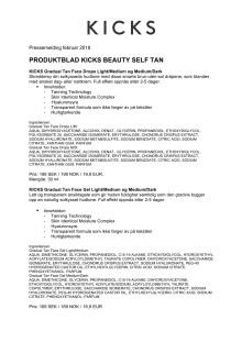 Produktblad KICKS Beauty Self Tan 2018