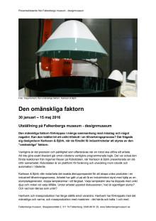 Pressmeddelande Den omänskliga faktorn, Falkenbergs museum