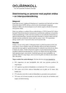 Utbredd diskriminering av personer med psykisk ohälsa