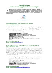 Seminarier om byggbranschens utmaningar